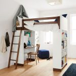 Bedroom With Bed On Top, Study Area Below, Bookshelves Under The Footboard, Blue Ottoman, Windows