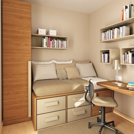 bedroom with brown color on the wooden floor, wall, cupboard, platform bed with drawers, study table, bookshelves