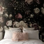 Bedroom With White Bedding, Flower Wallpaper With Black Background On The Accent