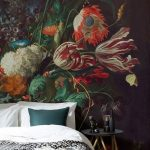 Bedroom With White Wooden Floor, Whitebed With Black And White Cover, Side Table, Flower Wallpaper With Antique Look