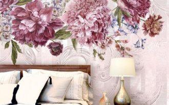 bedroom with wooden floor, wooden platform, white bedding, pink large flowers wallpaper on pink background