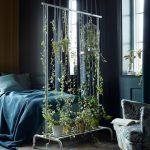 Blue Bedroom, Wood Herringbone Floor, Blue Walls, Blue Bedding, Blue Chair, Room Divider