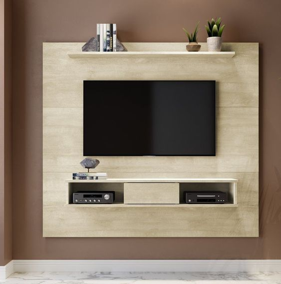 board for TV center with shelves for media player under, shelves for decoration above TV