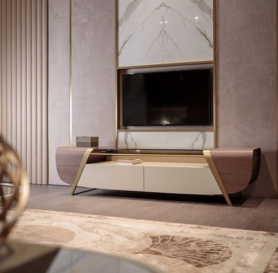brown sleek looking entertainment cabinet