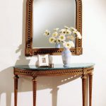 Brown Wooden Console Table With Half Round Shep, Green Marble Top, Details On The Table And Matching Mirror With The Same Details On The Frame