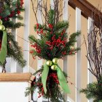 Christmas Decoration Tied On The Stair Fences