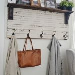 Coat Rack With Hook On White Wooden Board Under Shelves