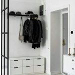 Coat Rack With Hooks Under Shelves For Hats, With White Storage Below