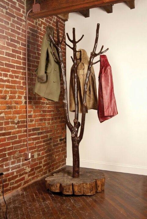 coat racks branch from wood material