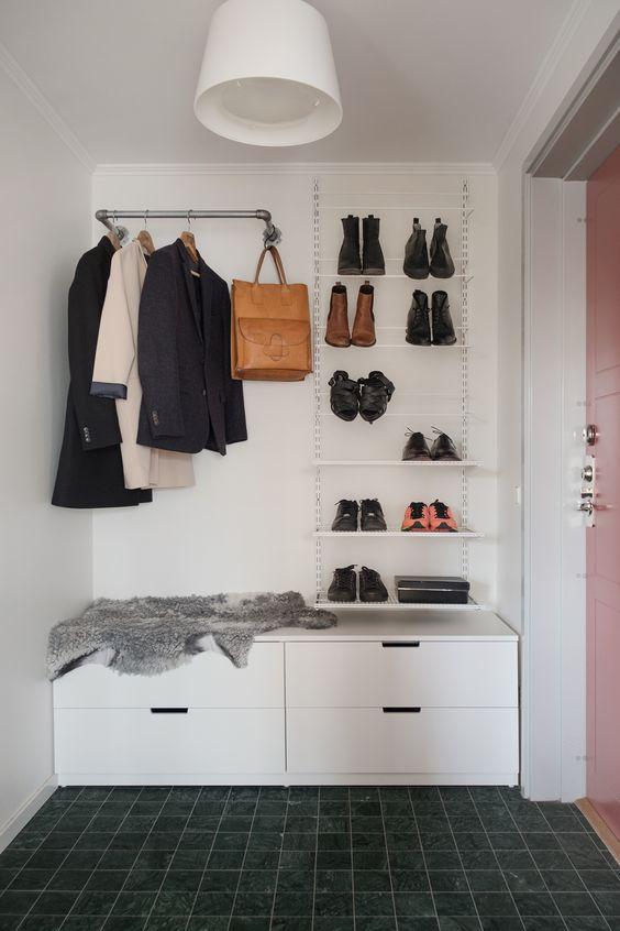 coat racks with sliding horizontal pole, shoe rack, storage under