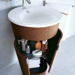 Cylinder Vanity With White Round Basin, Wooden Cylinder Cabinet Under The Sink