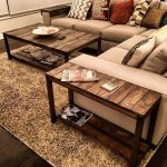 Dark Rectangular Wooden Table And Long Side Table