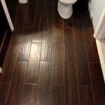 Dark Wood Pattern In Porcelain Tiles Bathroom
