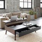 Dark Wooden Coffee Table With Drawer On One Side, Storage In One Side, A Side Top To Slide Up