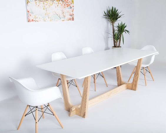 dining area, white flooring, white wall, white midcentury modern chairs, wooden legged table with white top, plants