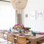 Dining Room, Rug, Wooden Table, Rattan Chairs, White Wall, Fringe Chandelier