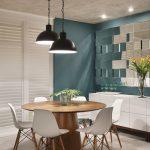 Dining Room, White Floor Tiles, Blue Wall, Wooden Round Table, White Midcentury Modern Chair, Black Pendant