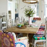 Dining Room, Wooden Table, Wooden Chairs With Colorful Cushion, Long Wooden Table, Wooden Pendant