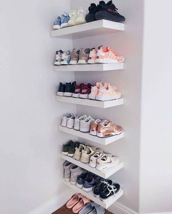 floating white shoe racks on the corner