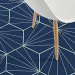 Floor With Blue Geometrical Vinyl Flooring