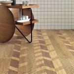 Floor With Brown Porcelain Tiles With Herringbone Effect