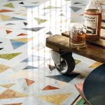 Floor With White Marble Flooring With Colorful Little Triangular Pattern Inside