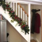 Garlands Put On The Low Part Of The Stairs, Wooden Floor