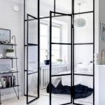 Glass Wall Divider With Black Metal Frame, Between The Bedroom And Living Room