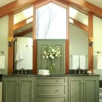 House Shaped Wooden Green Vanity With Two Sinks, Two Mirror, One Big Mirror Near The Arch Ceiling,