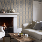 Ikat Pattern On The Wallpaper On Living Room