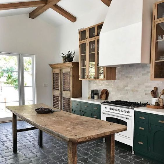 kitchen with black stone flooring