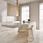 Kitchen With Marble Floor With Golden Lines, White Cabinet, White Larder, Wooden Cabinet, White Marble Island, Golden Stool