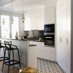 Kitchen With White Cabinet Under Black Kitchen Top, White Cabinet On Top, White Storage Cupboard, Island With Black Stool