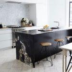 Kitchen With White Floor Tiles, White Marble On Backsplash, White Cabinet, White Wall, Black Marble Island