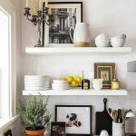 Kitchen With White Tiles Wall, White Woden Open Shelving With Tea Seat, Kitchen Utensils