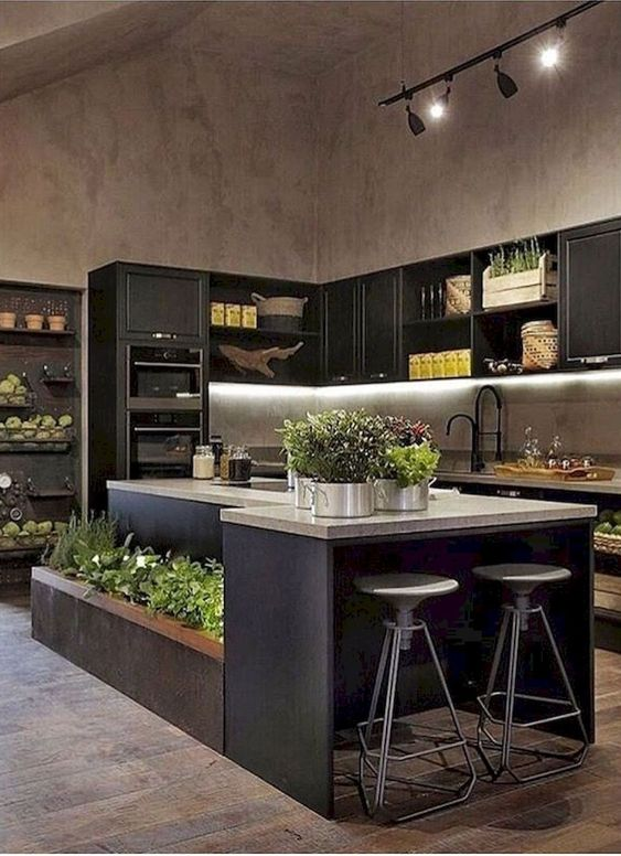kitchen with wooden floor, black cabinet on top of the counter top, black shelves, open storage under the counter top, black island with grey top, plants pots built in the island