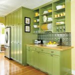 Kitchen With Wooden Floor, Green Cabinets, Cupboards, Shelves, Backsplash, Wooden Counter Top