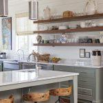 Kitchen With Wooden Planks Floor, Grey Island With White Countertop, Grey Cabinet With White Countertop, Wooden Open Shelves