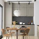 Ktichen With White Wall, Brown Floor, Brown Thin Dinner Table Set, Grey Cabinet, Grey Backsplash