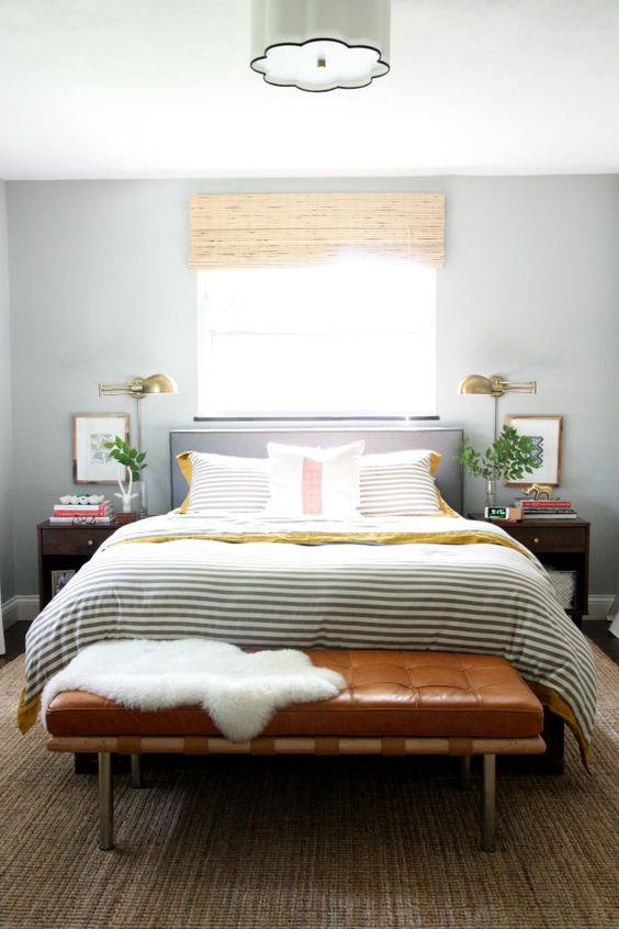 leather bench on end bed with metal legs