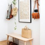 Light Brown Wooden Basic Benche On Entryways With White Wall, Hooks, Picture