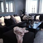 Living Room, Grey Rug, Black Sofa, Black Cofee Table, Grey Wall