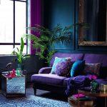 Living Room With Blue Rug, Purple Sofa, Teal Wall, Purple Curtain