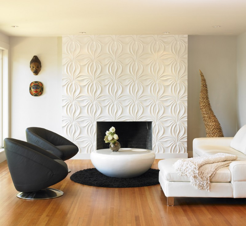 living room with wooden floor, white round coffee house, white sofa, black comfortable round chairs, white walls, white textured accent walls