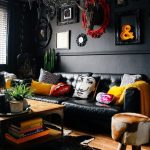 Living Room, Wooden Floor, Wooden Coffee Table, Colorful Decorative Pillows, Black Chandelier