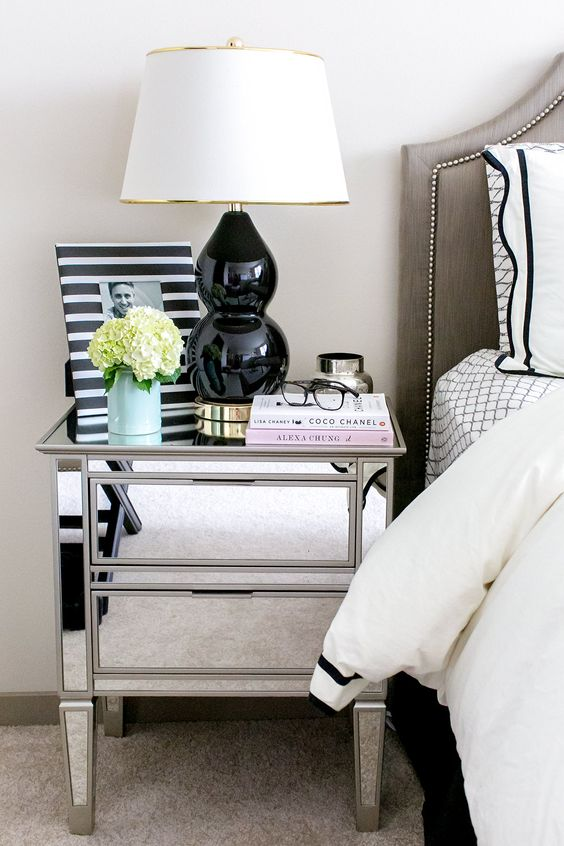mirrored bedside cabinet with two drawers