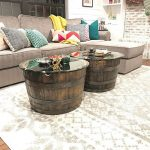 Old Wooden Barrels With Round Glass Top For Coffee Table