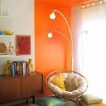 Orange Thick Line Of Paint On The Wall Continue To The Ceiling On The Corner Of The Room While The Rest Is White