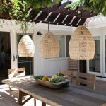 Outdoor Dining Area, Wooden Dining Set, Rattan Covered Pendants