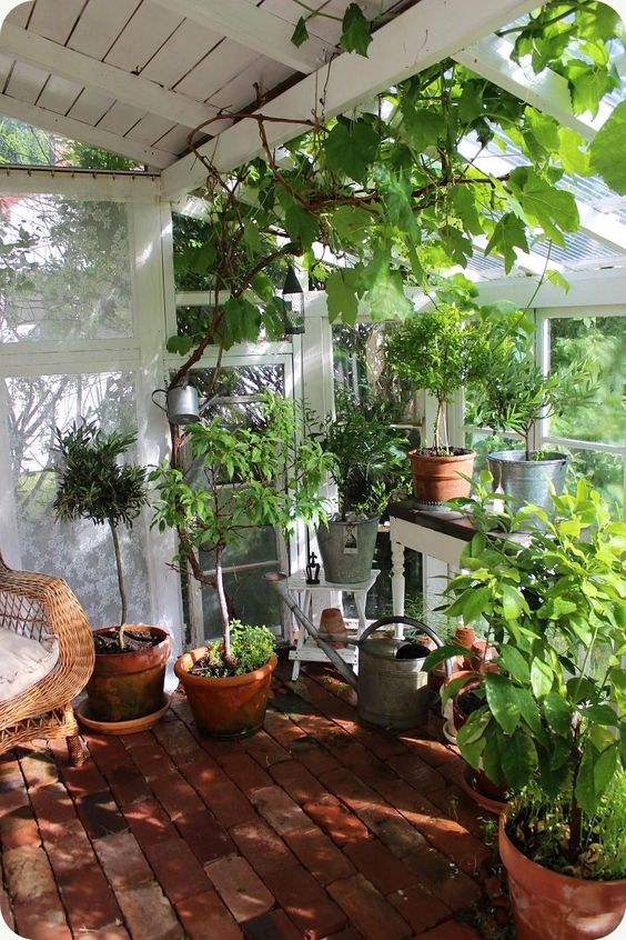 porch with brick floor, rattan chair, plants, glass windows